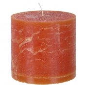 Stora blockljus orange cylinder rustik - 10x10 cm